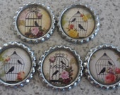 5 x Bird in a Cage Inspired Flattened Silver Bottle Caps - Great for Jewellery, Cards, Keyrings