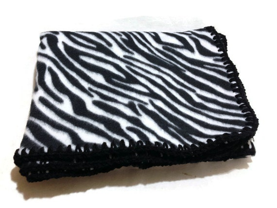 zebra stripe blanket black and white fleece by addsomestitches. Black Bedroom Furniture Sets. Home Design Ideas