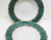 Stoneware Soup Bowls with Green Rims - Interiors Stoneware - Carmen Pattern Soup Bowls