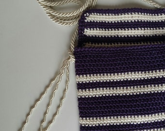 Purple purse, crochet  little bag, cotton bag, summer bag