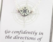 Compass Necklace - Sterling Silver -  Let your compass be your Guide with your new endeavor - Graduation Gift, Friendship necklace, Journey