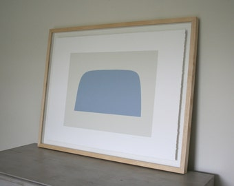 Mound, a large bold and simple, hard edged, original abstract screenprint in blue and cream. Minimal print.