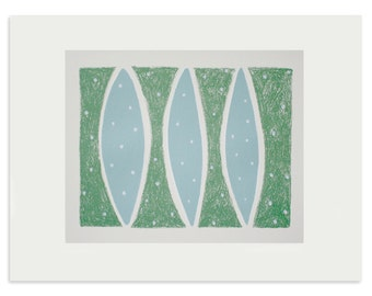 SALE abstract screen print 'Three Blue Leaves', original handmade screenprint on lovely quality fine art paper by Emma Lawrenson.