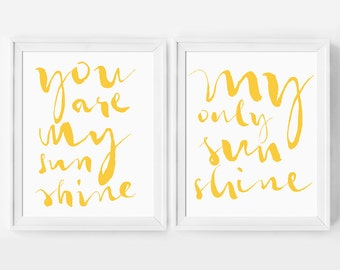 Nursery Decor, You Are My Sunshine, Set of Two, Nursery Art Print, Nursery Print, Nursery Wall Art, Nursery Gift, Two Matching Wall Prints