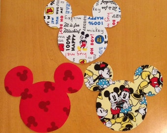 Mickey & Minnie Mouse Inspired Head Iron On Appliqué DIY Infant, Toddler, Kids, Adult