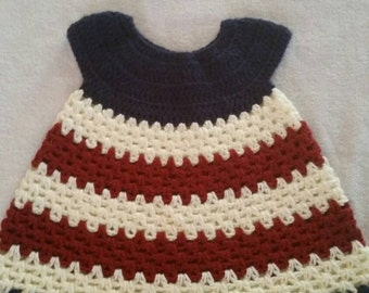 Crochet vintage colired red white and blue 6 month dress