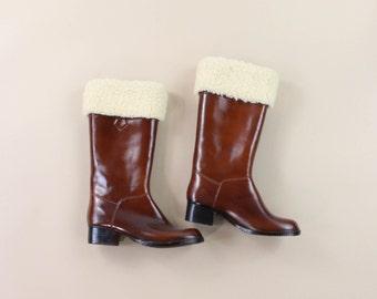 VINTAGE Rubber Boots Fleece Brown Size 7