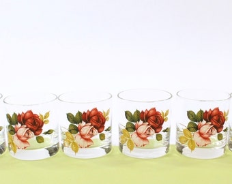VINTAGE Rose Glasses Old Fashioned Short Tumbler Glass