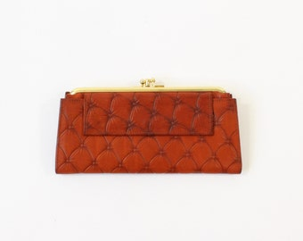 VINTAGE Leather Wallet Red Brown