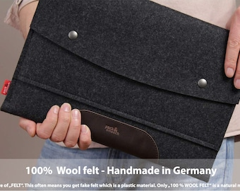 "15"" MacBook PRO sleeve, case, cover, 100% wool felt, vegetable tanned leather Hampshire LTS-ADB-PRO15"