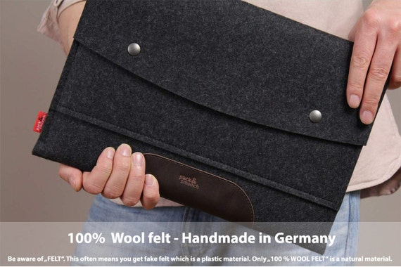 """15"""" MacBook PRO sleeve, case, cover, 100% wool felt, vegetable tanned leather Hampshire LTS-ADB-PRO15"""
