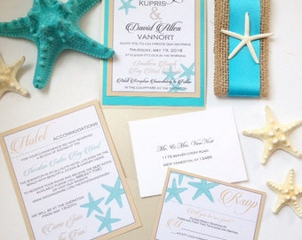 Starfish Wedding Invitation Suite, Pocket Fold Invitation, Starfish  Invitation, Wedding Invitation, Beachy