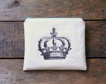 royal crown zipper pouch, makeup bag, organizer, women, travel bag, cosmetic bag, wallet, summer fashion, shabby chic