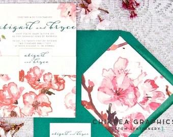 Cherry Blossoms -- Watercolor cherry blossoms, Romantic wedding invitation suite, pink, green, dreamy