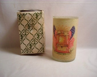 Vintage Tall Glass Candle Liberty Bell Frosted 1970s