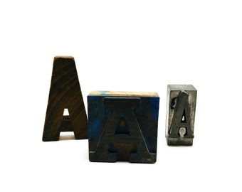 The As have it - mini collection of vintage letter As - Wooden stamp, Letterpress