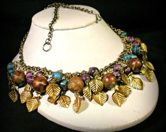 Golden Leaves Colorful Globe Necklace