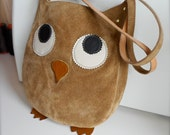 Suede Leather Handbag, Thick, soft, quality leather, Wise Owl design, Handcrafted, Lined. One of a kind.