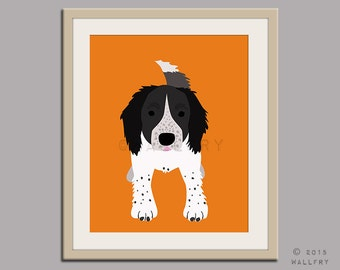 Springer spaniel print puppy dog nursery decor. Dog nursery print. Art for children, kids decor. Custom dog art kids. Art print by WallFry
