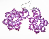 Handmade tatted earrings made of purple cotton thread and  beads