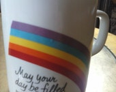 Rainbow Retro VIntage 1984 Avon Mug May your day be filled with love
