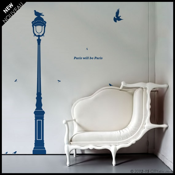 Paris : WALL DECAL - DISCOUNT. Old fashion Street Lamp with globe, pigeon, 19th Century