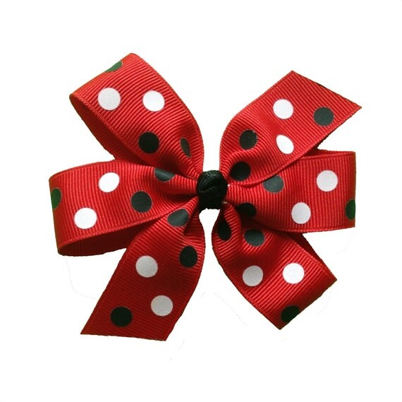 Black, Red, and White Polka Dot Large 4 inch Pinwheel Bow - UGA Bulldogs Falcons Hurricanes Terps Wolfpack