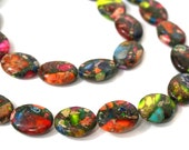 Gemstone Beads, Colorful Mixed Impression Jasper, 18mm x 13mm flat oval bead, 8 inch strand (987S)