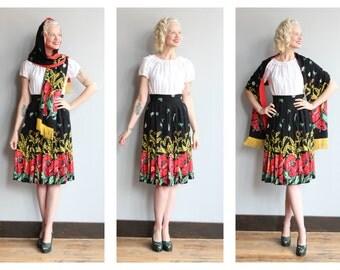 1940s Skirt Set // Neverland Rose Skirt & Shawl // vintage 40s rayon skirt