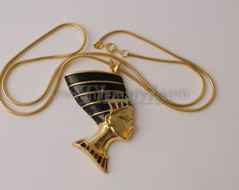 Large Egyptian Enameled Queen Nefertiti  Bust Necklace