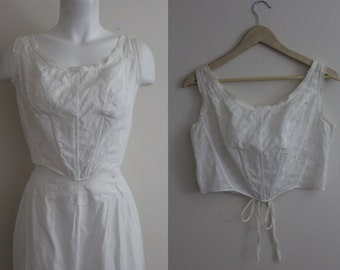 Victorian Cotton Eyelet Bustier / Cotton Eyelet Bustier / Vintage White Cotton Eyelet / Size S / M