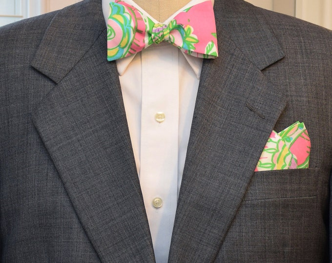Men's Pocket Square & Bow Tie set in Lilly pink, green Chin Chin, wedding party wear, groomsmen gift, groom bow tie set, men's gift set