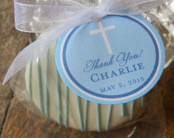 """Christening - Baptism - First Communion - Confirmation - Thank You Cross Favor Tags - For Cake Pops - Cookies - Party Favors - (60) 1.5"""" tag"""