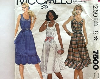 80s McCalls 7500 Sun Dress, Flared and with Tiered Ruffle Size 14 Bust 36