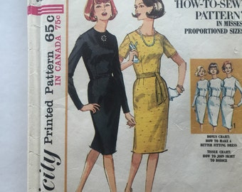 60s Simplicity 5653 Basic Dress with Slim Skirt, Jewel Neckline, Short or Long Sleeve, Size 12 Bust 32