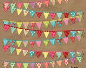 Instant Download Digital Banner Clipart Graphic Bunting vibrant colors card making supplies birthday party shower invitations event website