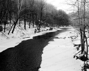 Winter B&W Patapsco River - Fine Art Photography print - Home Decor - Wall Art