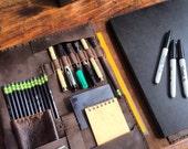 Eldrige document holder, handmade leather folio, brown leather notepad holder, handmade A4 Moleskine 7 pocket notepad portfolio/padfolio