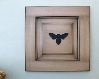 Bee Reclaimed Wood Door - Color Sand Dollar - eco decor - wall decor - distressed wood - black bumble bee