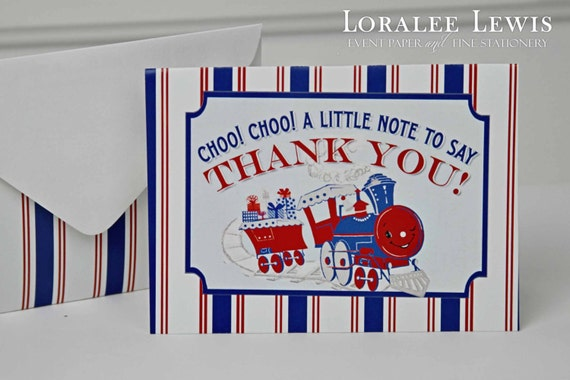 Train Thank You Note Set by Loralee Lewis