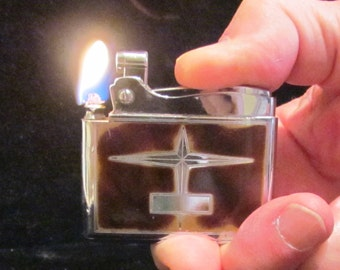 Ronson Adonis Lighter 1949 Enamel Pocket Lighter In Original Pouch And Box Working
