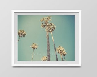 Palm Trees in Lajolla, Surf Decor,  beach photos, , yellow, turquoise, sunset, retro, vintage surf home decor, boys room