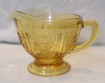 Vintage 1930's Federal Glass Sharon Cabbage Rose-AMBER CREAMER-Good Condition