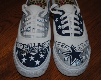 New just finished painting Dallas Cowboys sneakers size 7.5 platform style sneaker - SOLD just for display