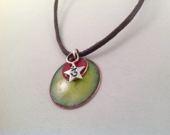 Third eye chakra necklace enameled  green and red