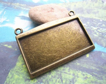 HEAVY --4pcs  49x35mm antiqued bronze plated rectangle bezel pendant blanks(fit 45x22mm cabochons)