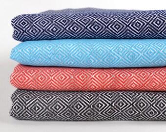 50% sale handwoven peshtemal, turkish towel, turkish bath towel, for dad, for mom, turquoise diamond towel, yoga towel, pareo, beach towel