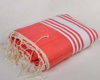 handwoven, turkish towel, high quality peshtemal, beach towel, highly absorbent, cotton, yoga, sport spa, tablecloth, quick dry, red,