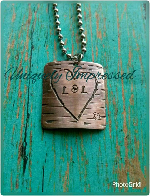 Love Tree Metal Heart Boyfriend Girlfriend Couple Married Initials Carving Personalized Hammered Heart Necklace Dating Uniquely Impressed