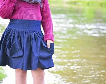 Girl's Chambray full skirt